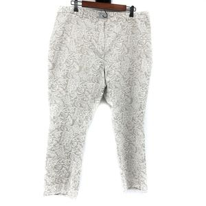 Pure Collection Beige Lace Straight Ankle Pants